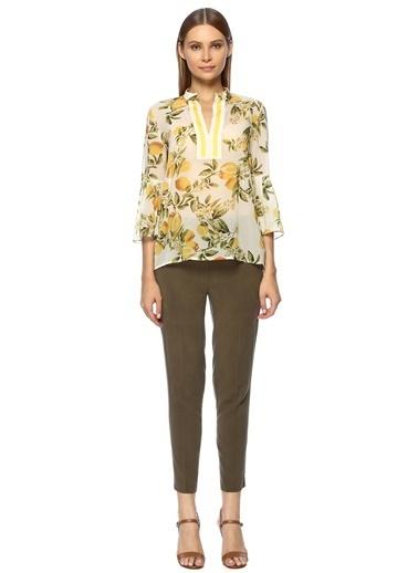 NetWork Kadın 1069582 Regular Fit Desen Bluz Sarı